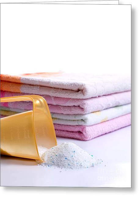 Domestic Bathroom Greeting Cards - Detergent Greeting Card by Sinisa Botas