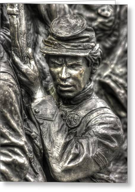 Aotp Greeting Cards - Determination.  State of Delaware Monument Detail-E Gettysburg Autumn Mid-Day. Greeting Card by Michael Mazaika