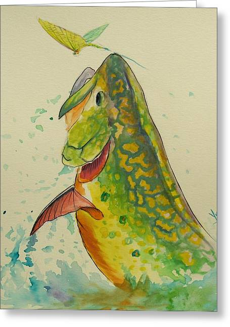 Trout Fishing Greeting Cards - Determination  Greeting Card by Yusniel Santos