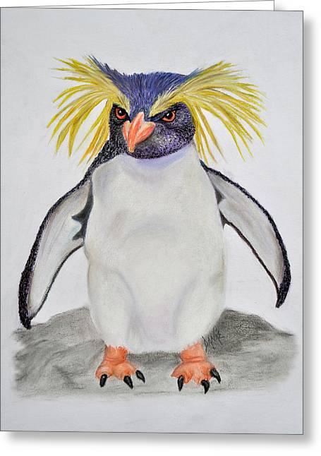 Swimmers Pastels Greeting Cards - Determined Rockhopper Greeting Card by Danae McKillop