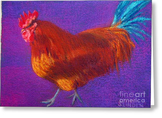 Rooster Pastels Greeting Cards - Determined Rooster Greeting Card by Sandy Linden