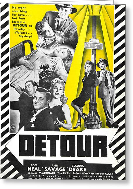 1940s Movies Greeting Cards - Detour - 1945 Greeting Card by Nomad Art And  Design
