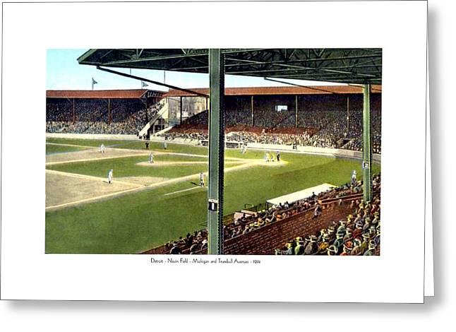 Detroit Tigers Digital Art Greeting Cards - Detroit - Navin Field - Detroit Tigers - Michigan and Trumbull Avenues - 1914 Greeting Card by John Madison