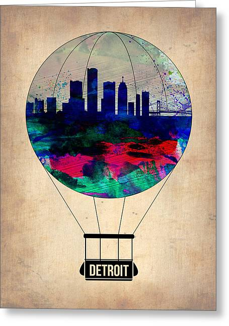 Capital Greeting Cards - Detroit Air Balloon Greeting Card by Naxart Studio