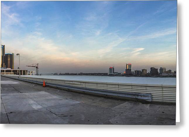 Renaissance Center Greeting Cards - Detroit and Windsor  Greeting Card by John McGraw