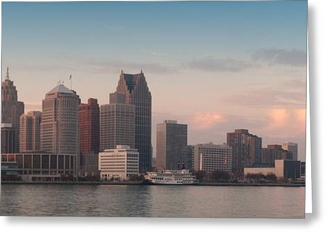 Detroit At Dusk Greeting Card by Andreas Freund
