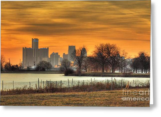 Rencen Greeting Cards - Detroit at Sunset Greeting Card by Kathy Wesserling