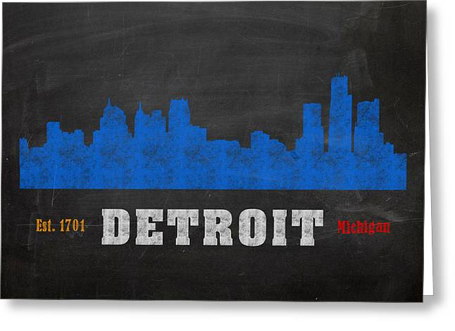 Skyline Mixed Media Greeting Cards - Detroit City Skyline Chalkboard Chalk Art Greeting Card by Design Turnpike