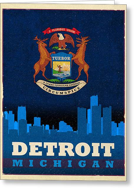 Michigan Art Greeting Cards - Detroit City Skyline Flag of Michigan Art Poster Series 001 Greeting Card by Design Turnpike