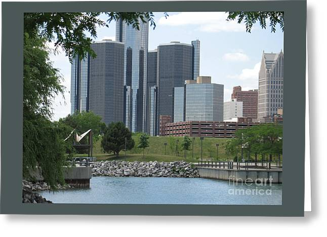 Renaissance Center Greeting Cards - Detroit City View Greeting Card by Ann Horn
