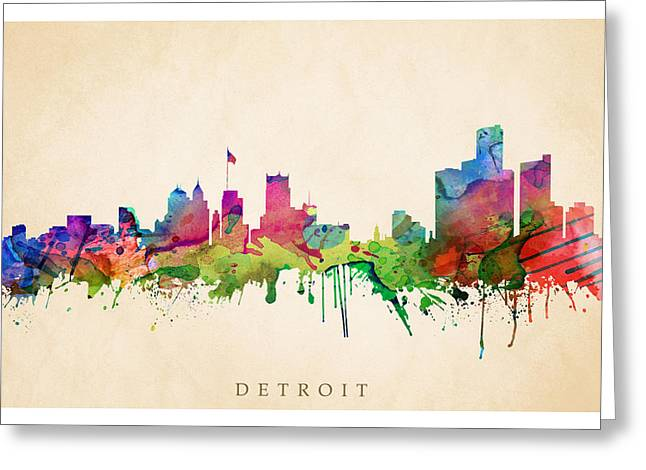 Steve Will Greeting Cards - Detroit Cityscape Greeting Card by Steve Will