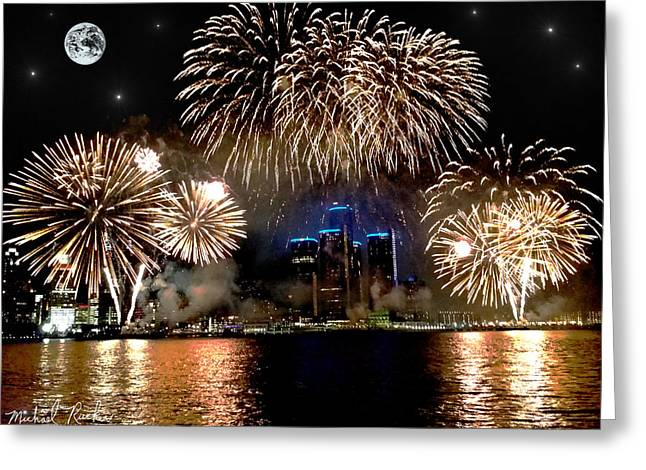 Renaissance Center Greeting Cards - Detroit Fireworks 2014 Greeting Card by Michael Rucker