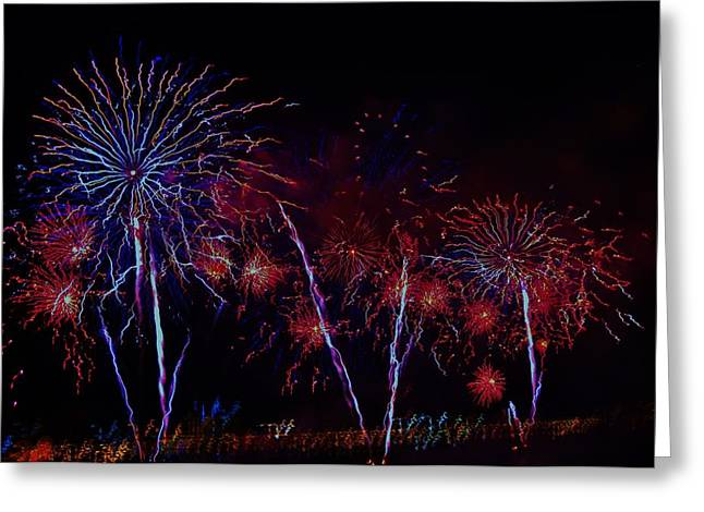 4th July Photographs Greeting Cards - Detroit Fireworks 5 Greeting Card by Jennifer McGuire