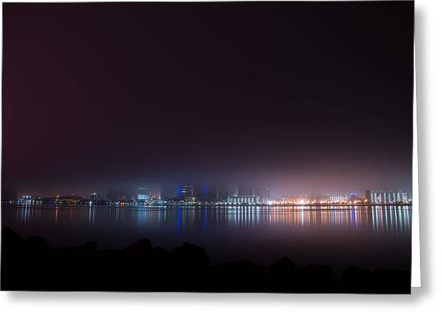 Detroit River Greeting Cards - Detroit Fog Greeting Card by Cale Best