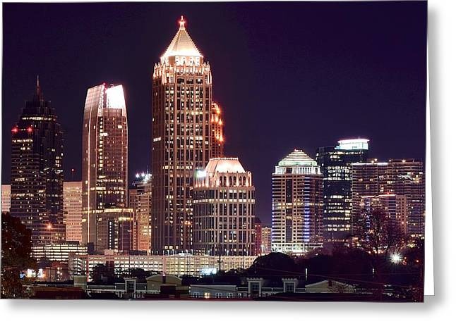 Night Hawk Greeting Cards - Atlanta Towers Greeting Card by Frozen in Time Fine Art Photography