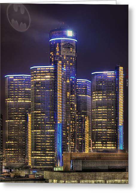 Ren Cen Greeting Cards - Detroit Gotham City Greeting Card by B And G Art