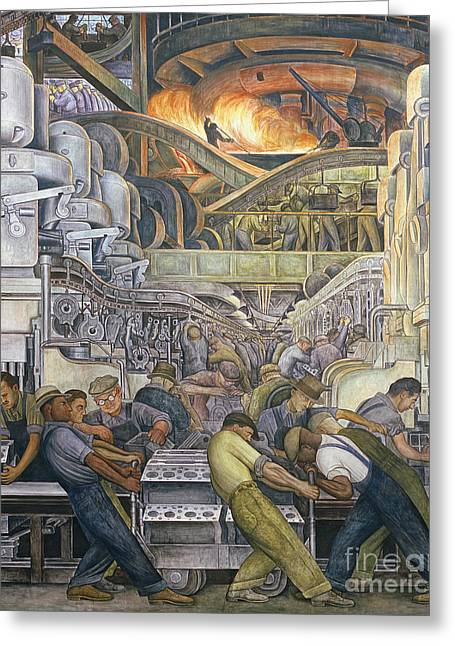 Aged Greeting Cards - Detroit Industry  North Wall Greeting Card by Diego Rivera
