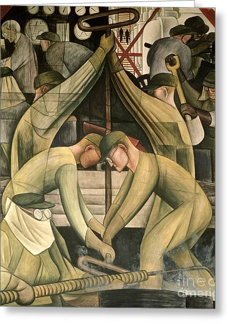 Machine Paintings Greeting Cards - Detroit Industry  south wall Greeting Card by Diego Rivera