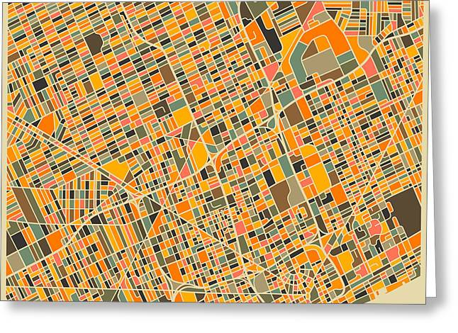 Modern Artist Greeting Cards - Detroit Map Greeting Card by Jazzberry Blue