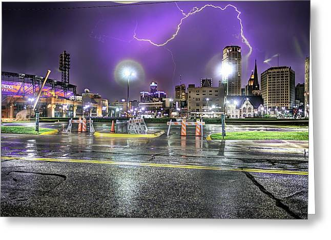 Renaissance Center Greeting Cards - Detroit Lightning Detroit Mi Greeting Card by B And G Art