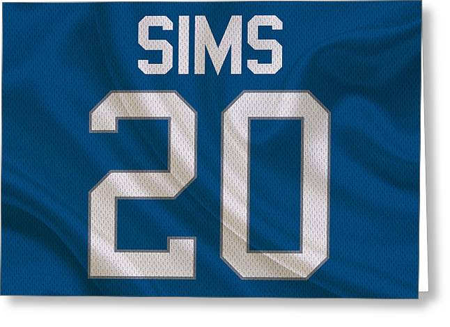 Lions Greeting Cards - Detroit Lions Billy Sims Greeting Card by Joe Hamilton