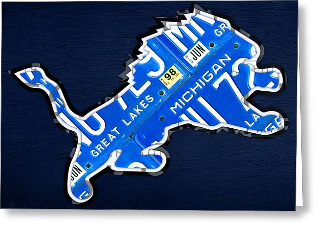 Map Mixed Media Greeting Cards - Detroit Lions Football Team Retro Logo License Plate Art Greeting Card by Design Turnpike