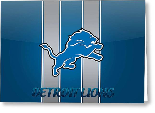 Pro Football Mixed Media Greeting Cards - Detroit Lions Greeting Card by Marvin Blaine