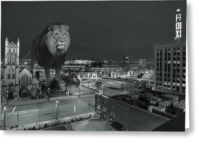 Detroit Pistons Digital Greeting Cards - Detroit Lions Greeting Card by Nicholas  Grunas
