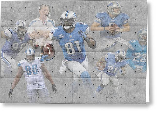 Lions Greeting Cards - Detroit Lions Team Greeting Card by Joe Hamilton
