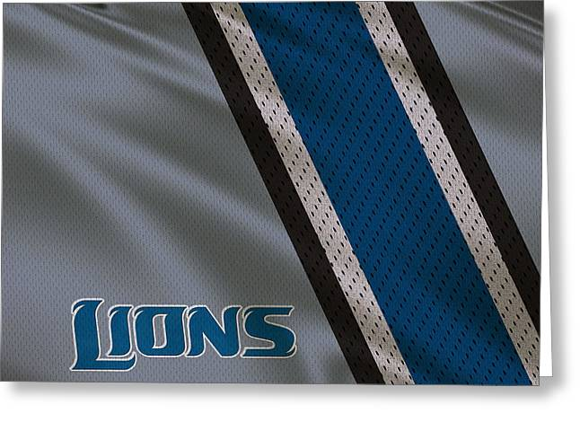Lions Greeting Cards - Detroit Lions Uniform Greeting Card by Joe Hamilton