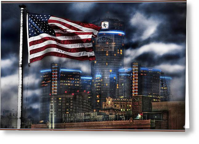 Detroit Pistons Digital Greeting Cards - Detroit MI USA Flag Greeting Card by Nicholas  Grunas