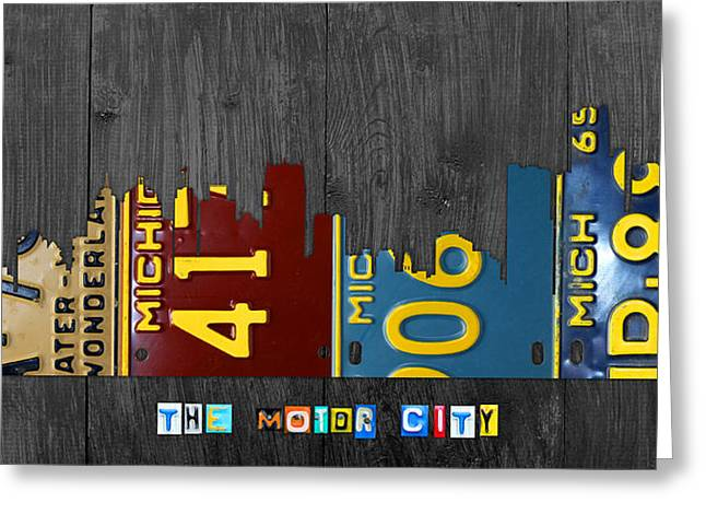 Skyline Mixed Media Greeting Cards - Detroit Michigan City Skyline License Plate Art The Motor City Greeting Card by Design Turnpike
