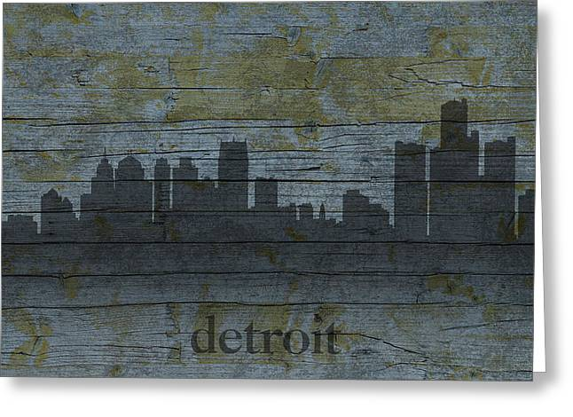 Peeling Greeting Cards - Detroit Michigan City Skyline Silhouette Distressed on Worn Peeling Wood Greeting Card by Design Turnpike