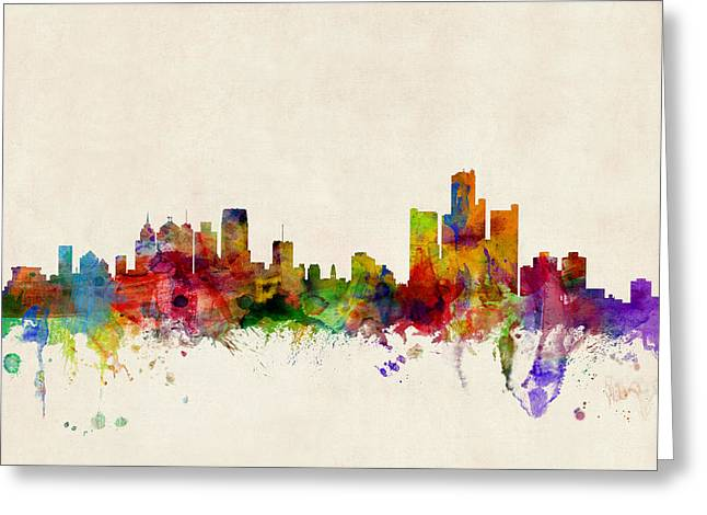 Urban Watercolour Greeting Cards - Detroit Michigan Skyline Greeting Card by Michael Tompsett
