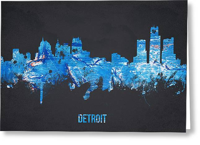 Landmark And Bridges Greeting Cards - Detroit Michigan USA Greeting Card by Aged Pixel
