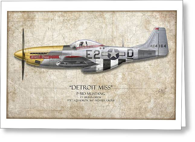 P51 Mustang Greeting Cards - Detroit Miss P-51D Mustang - Map Background Greeting Card by Craig Tinder