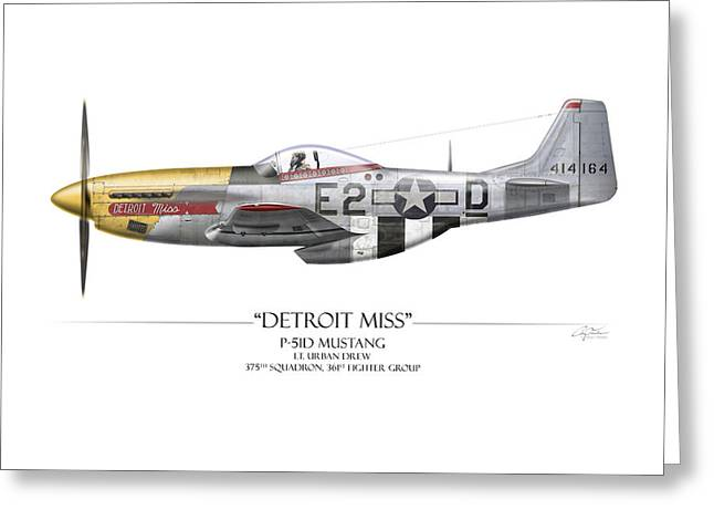 P51 Mustang Greeting Cards - Detroit Miss P-51D Mustang - White Background Greeting Card by Craig Tinder