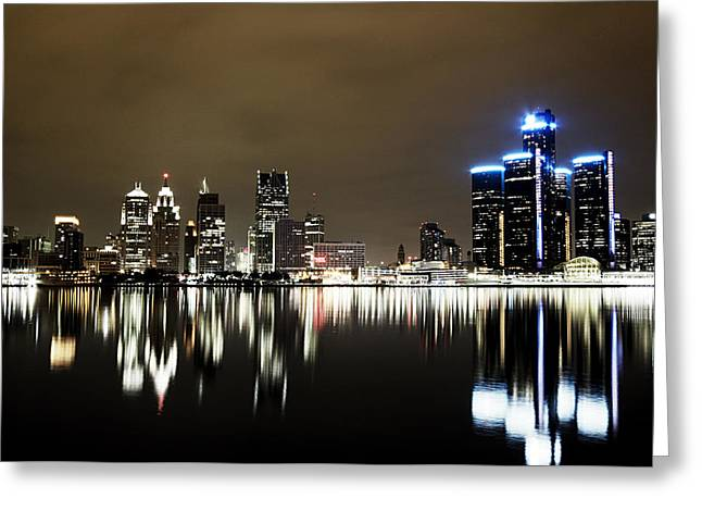 City-scapes Greeting Cards - Detroit Night Skyline Greeting Card by Alanna Pfeffer