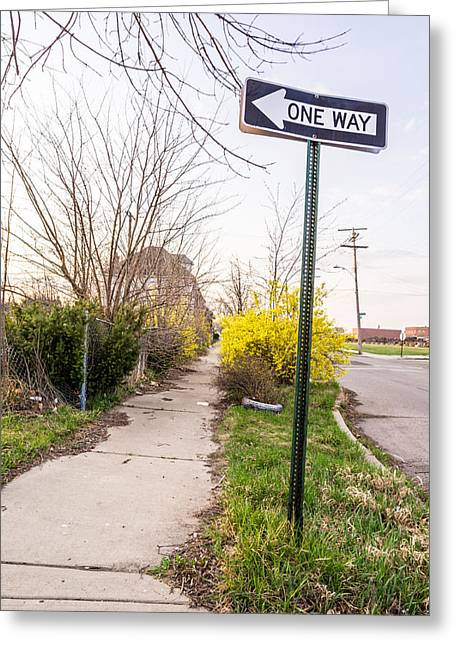 Directional Signage. Greeting Cards - Detroit One Way Greeting Card by Priya Ghose