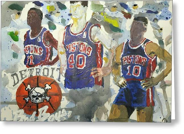 Rodman Greeting Cards - Detroit Pistons Bad Boys  Greeting Card by Tyrone Scott
