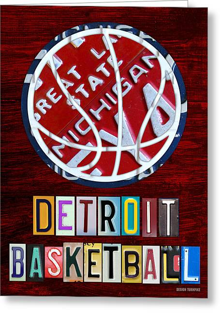 Metal Art Greeting Cards - Detroit Pistons Basketball Vintage License Plate Art Greeting Card by Design Turnpike
