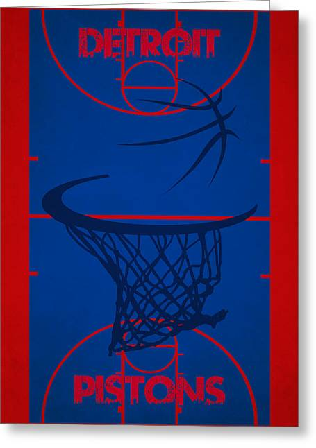Piston Greeting Cards - Detroit Pistons Court Greeting Card by Joe Hamilton