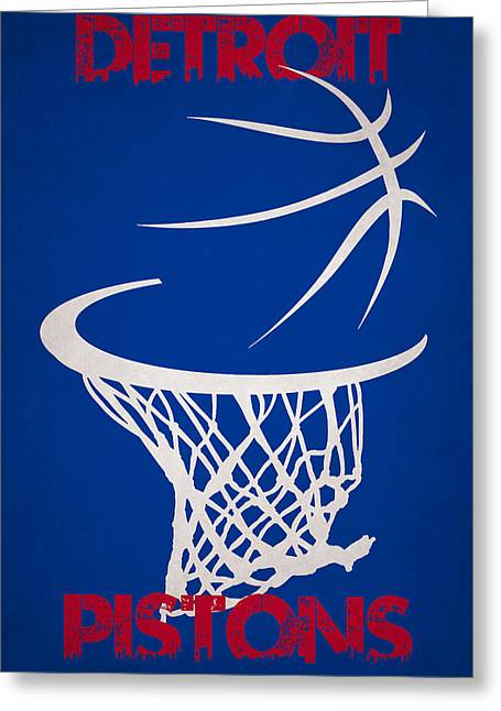 Piston Greeting Cards - Detroit Pistons Hoop Greeting Card by Joe Hamilton