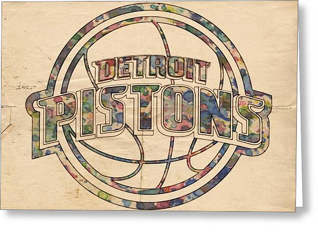 Slamdunk Digital Greeting Cards - Detroit Pistons Poster Art Greeting Card by Florian Rodarte