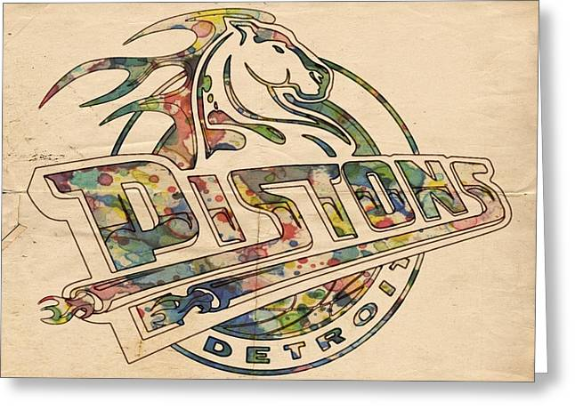 Detroit Pistons Digital Greeting Cards - Detroit Pistons Retro Poster Greeting Card by Florian Rodarte