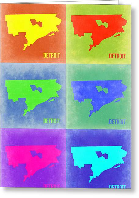 Decoration Mixed Media Greeting Cards - Detroit Pop Art Map 3 Greeting Card by Naxart Studio