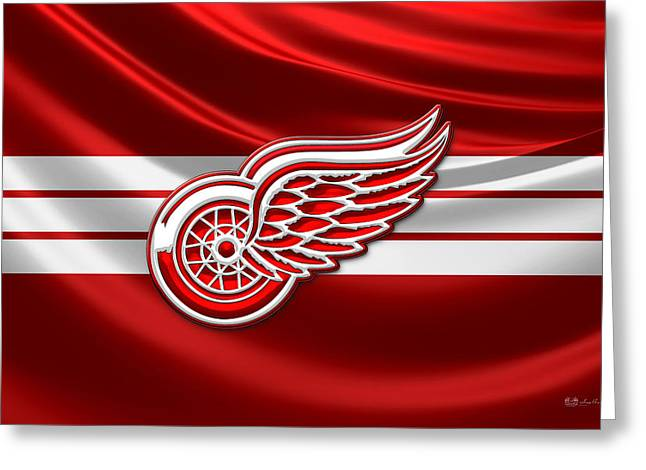 Hockey Memorabilia Greeting Cards - Detroit Red Wings - 3D Badge over Silk Flag Greeting Card by Serge Averbukh