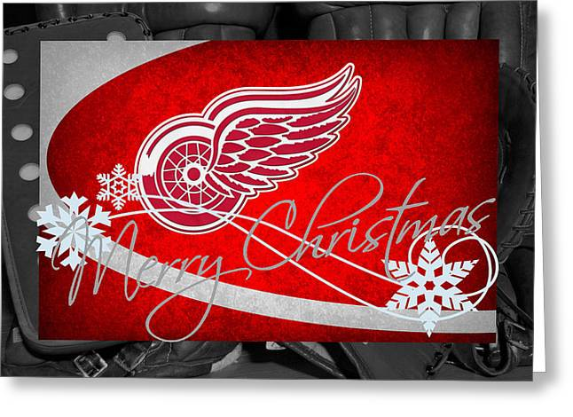 Red Wings Greeting Cards - Detroit Red Wings Christmas Greeting Card by Joe Hamilton