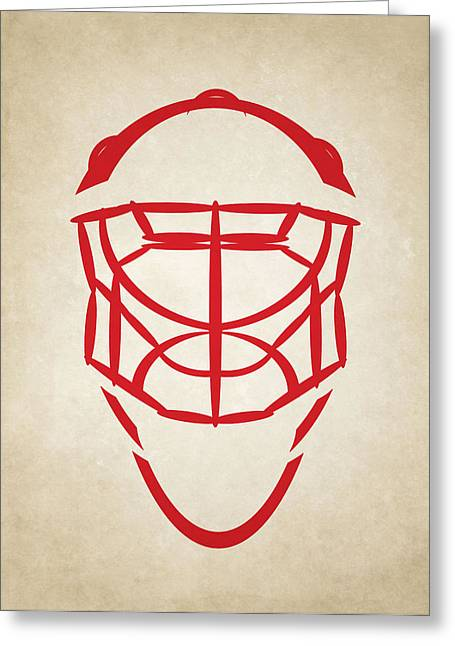 Ice-skating Greeting Cards - Detroit Red Wings Goalie Mask Greeting Card by Joe Hamilton