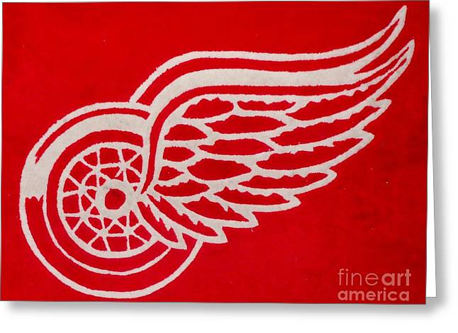 Art Buyers Greeting Cards - Detroit Red Wings Plush Greeting Card by Gail Matthews